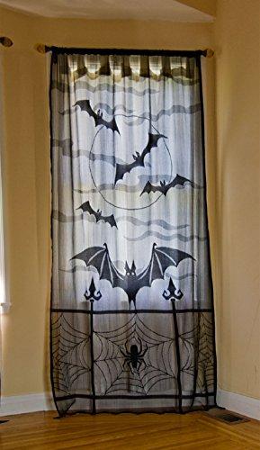YAMUDA Halloween Valance Curtain, Mantle Scarf, Lampshade (black) (40x84'', bats and (Bat Window)