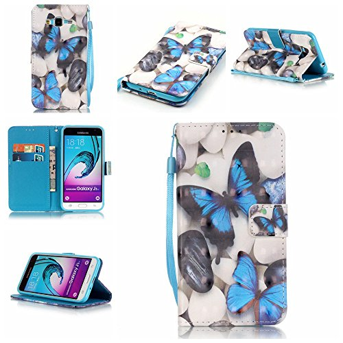 Galaxy J3/J310 2016 Case,Firefish [3D Painting] [Kickstand Feature] PU Leather Wallet Case with Card Slots and Magnetic Closure Wrist Strap for Samsung Galaxy J3/J310 2016-Blue Butterfly