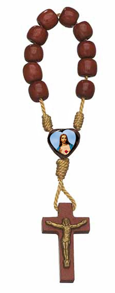 Sacred Heart of Jesus Wood Mini Finger Rosary by Catholica Shop | Rosary Decade| Lot of 12