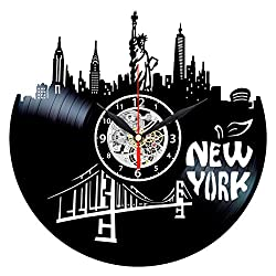 Queen Clocks New York City Vinyl Record Wall Clock - City Skyline Personalized Home Decor - Big Apple Gift Idea