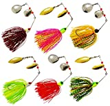 #10: JSHANMEI Fishing Spinner Lures Hard Metal Spinnerbait Jig Lure Kit for Bass Pike Mix Colors