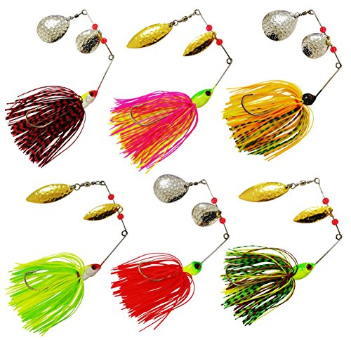 JSHANMEI Fishing Spinnerbait Lures Kit, Hard Metal Spinner Bait Jig Lures Buzzbait Swimbait for Pike Bass Trout Salmon Freshwater Saltwater Fishing (Type A, 12pcs)