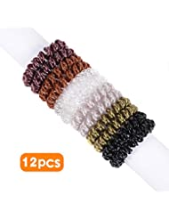 AVIVA Spiral Hair Ties 12pcs No Crease Elastic Ponytail Holders Hair Ring Phone Cord Traceless Hair Rubber Bands Suitable for All Hair Types 6 Colors,2pcs/Color
