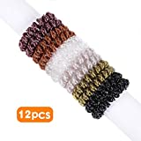 #2: Spiral Hair Ties 12pcs No Crease Elastic Ponytail Holders Hair Ring Phone Cord Traceless Hair Rubber Bands Suitable for All Hair Types 6 Colors,2pcs/Color