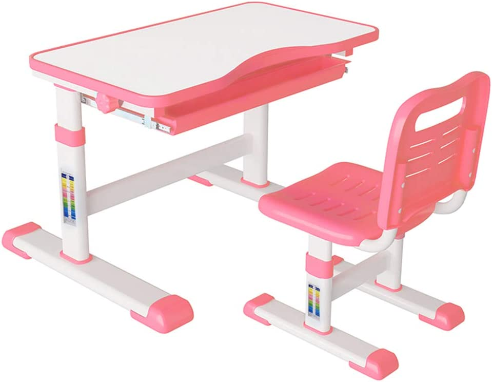 Kids Desk and Chair Set, FOME Height Adjustable Children Writing Table Student Study Table with Chair Children School Workstation Student Desk for Kids Pull Out Drawer Storage