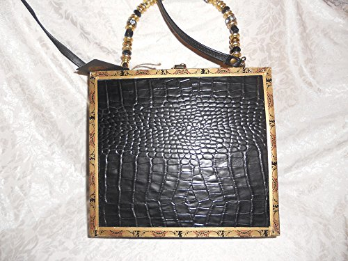Cigarbox Purse, Embossed High End Croc Embossed Black Rich Leather, Tina Marie Purse Purse, Vintage