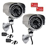 VideoSecu 2 Pack 700TVL Outdoor Built-in 1/3'' SONY Effio CCD IR Infrared Day Night Vision 3.6mm Lens Wide Angle Bullet Security Cameras for DVR CCTV Home Surveillance System with Power Supplies AC4