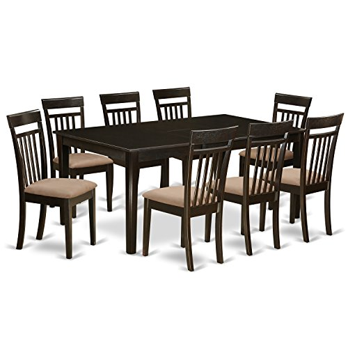 (East West Furniture HECA9-CAP-C 9 PC Dining Room Set-Table with Leaf Together with 8 Dining Room Chairs)