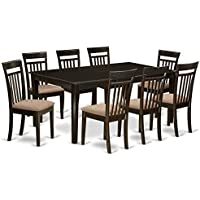 East West Furniture HECA9-CAP-C 9 PC Dining Room Set-Table with Leaf Together with 8 Dining Room Chairs