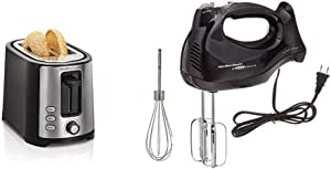 Hamilton Beach 2 Slice Extra Wide Slot Toaster with Shade Selector, Toast Boost, Auto Shutoff, Black (22633) & 6-Speed Electric Hand Mixer with Snap-On Case, Beaters, Whisk, Black (62692)