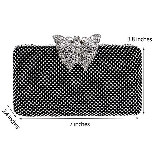 Purse Bags Wedding Prom Chain Silver Evening Dress Diamante Ladies Black Clutches Wallet Womens Bag 6wqW6HnFf