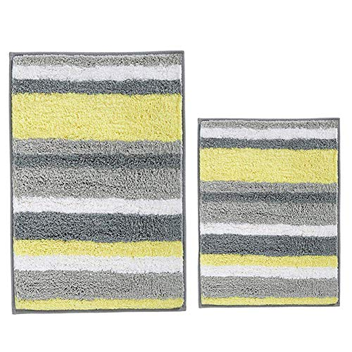 - HEBE Non Slip Bath Rug Set of 2 Striped Microfiber Bath Mats Set 2 Piece Absorbent Accent Spa Shower Rug Set 2 Piece for Bathrooms Machine Washable(Yellow/Grey)