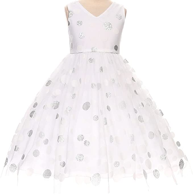009ed0a258b Big Girls  Satin Glitter Polka Dot Overlay Tulle Princess Flowers Girls  Dresses White 8 (