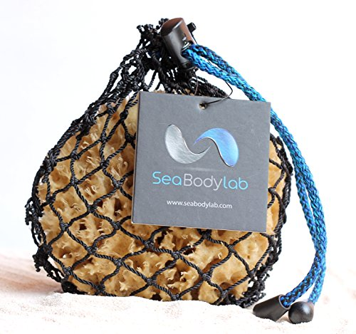 "Luxury Natural Sea Wool Bath Sponge, Longer Lasting than Any other Sea Sponge, 4.5-5"" in an Authentic Handmade Fishing Net, a Natural Renewable Resource"