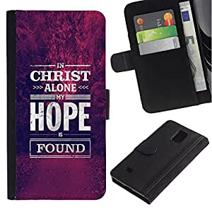 Billetera de Cuero Caso Titular de la tarjeta Carcasa Funda para Samsung Galaxy Note 4 SM-N910 / Christ Jesus Christian hope motivational / STRONG