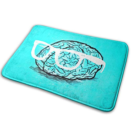 DENETRI DYERHOWARD Bath Mat Brain in Glasses Non Slip Bath Rug Washable Bathroom Soft Kitchen Floor Door Mat