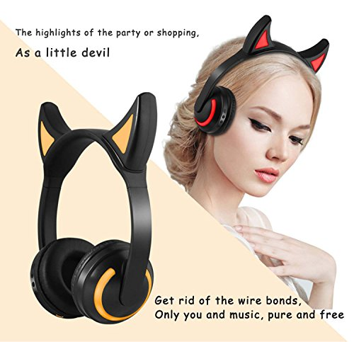 Kids Wireless Bluetooth Headphone 7 Colors LED Light Flashing Glowing Devil Ear Cosplay On-Ear Stereo Headset with Mic Compatible with Smartphones PC Tablet by Luckyu (Image #5)