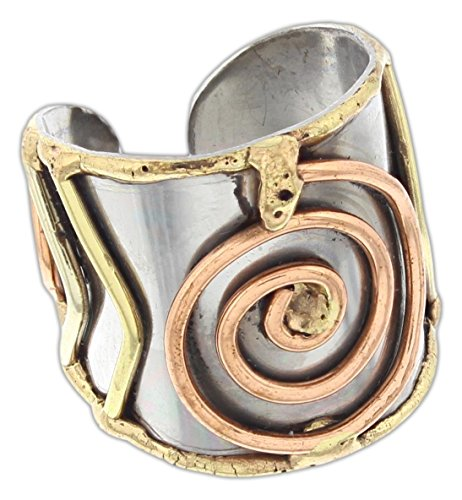 Anju Cuff Ring Welded Mixed Metal Design - Copper, Stainless Steel, Brass (Spirals)