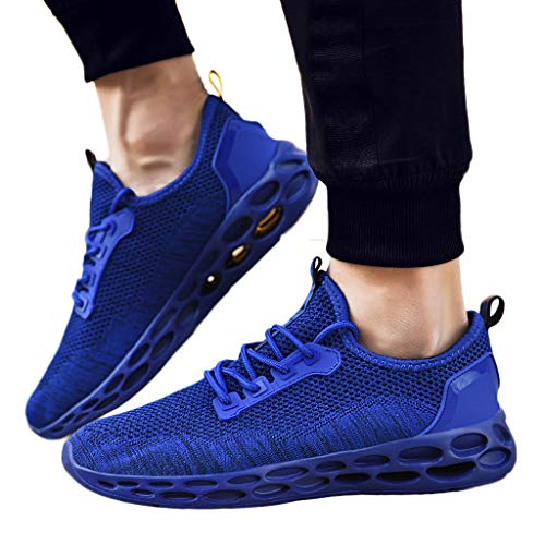 Mesh Running Shoes for Men Lightweight Sport Sneaker Breathable Lace Up Comfy Walking Shoes (Blue, US 8.5)