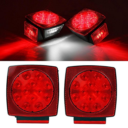 Partsam 2pc Submersible Square Red White LED Stop Turn Tail License Brake Trailer Light kit Sealed 12V for Camper Truck RV Boat Snowmobile Under 80' Inch Marine