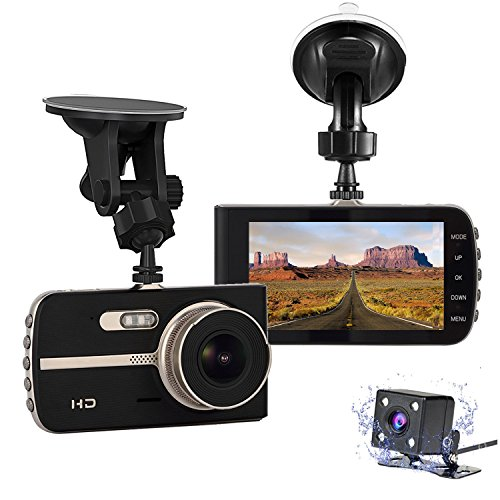 """Nesolo Full HD 1080P 1920x1080 Car Dash Cam 170° Wide Angle 4"""" LCD Dashboard Camera DVR Video Recorder Dual Lens Front+Rear with HDR Night Vision,Loop Recording,Parking Mode,G-Sensor"""