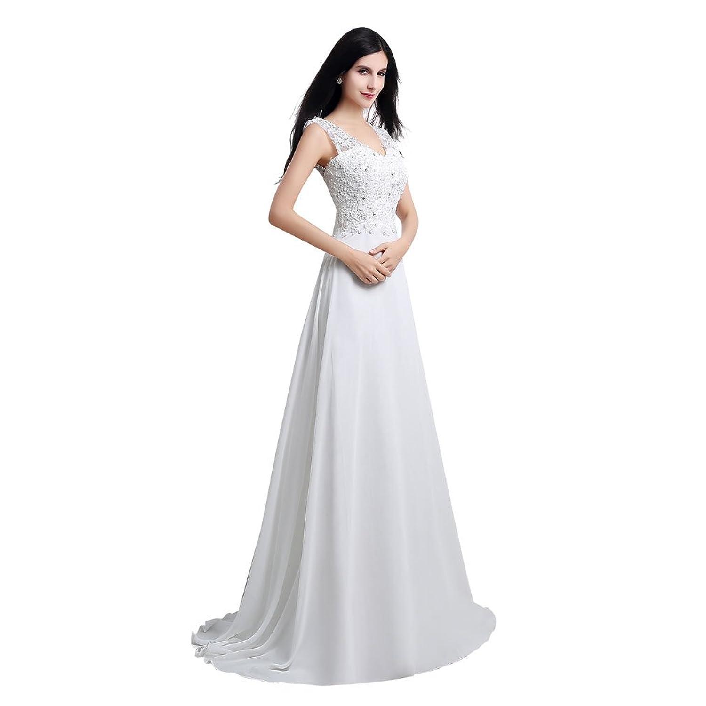 Mkleids Women's Floor Length Beige/White Rhinestone Lace Bridal Dress