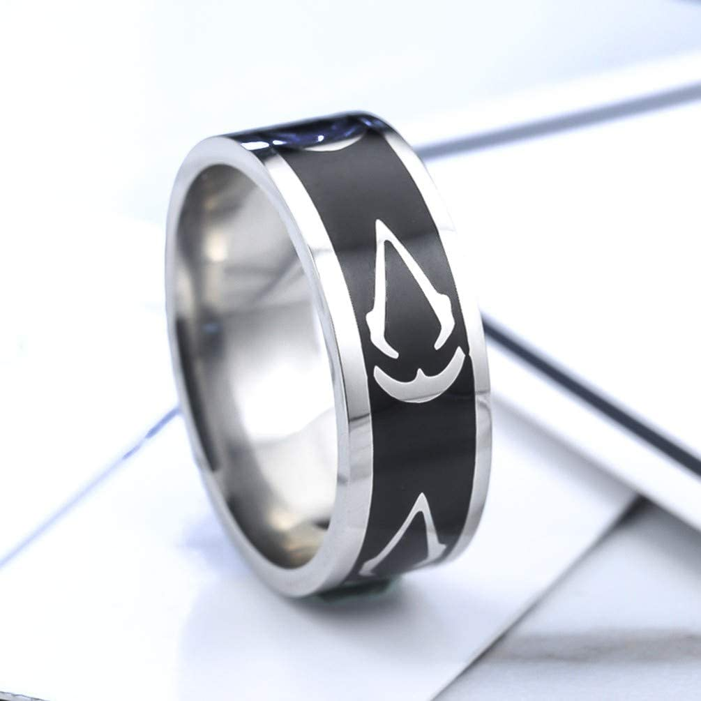 Sping Jewelry Assassins Creed Symbol Ring Stainless Steel Master Assassins Emblem Band Size 7to13
