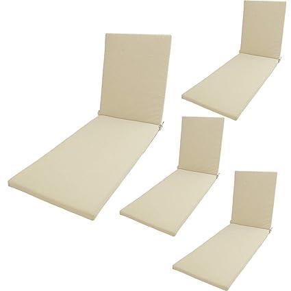 Pack 4 cojines textilene para tumbona de piscina color arena   Tamaño 196x60x5 cm   Tela antimanchas   Desenfundable   Portes gratis