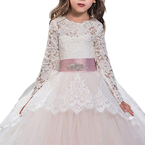 Fancy Lace Flower Girls Dresses 0-12 Year Old Pink Size 6