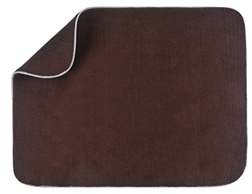 Sinland Microfiber Dish Drying Mat for Kitchen Extra Large Counter Absorbent Drying Pad Dish Drainer Mat 18Inch X 25Inch Brown