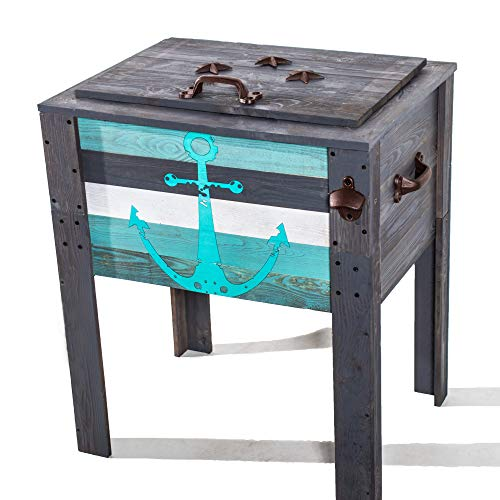 BACKYARD EXPRESSIONS PATIO · HOME · GARDEN 908343 Coastal Anchor Design Outdoor Patio Cooler, Grey/Teal