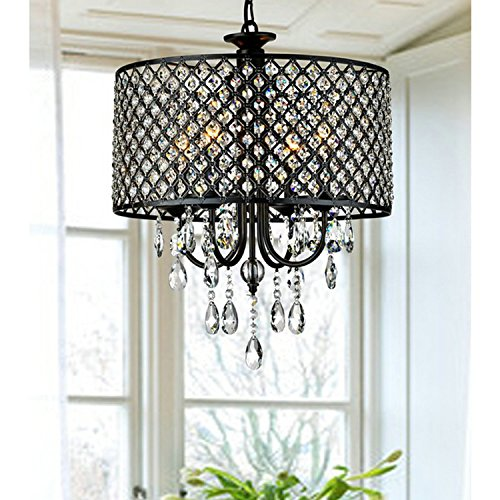 LightInTheBox Antique Bronze 4-light Round Crystal Chandelier with Black Metal-Net Drum Shade Home Ceiling Lamp Fixture Flush Mount (Bronze Chandelier With Crystals)