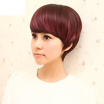 Mode Farbe Gestreift Kurz Und Gerade Haaregut Aussehend