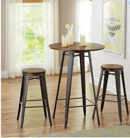Amazon.com - Modern 3 Piece Counter High/Pub Table Set. This Metal ...