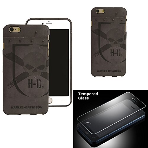 Harley Davidson (iPhone 6s PLUS, iPhone 6 PLUS) Semi Rigid TPU Gray HD Skull Cover with Tempered Glass Screen Protector.