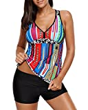 Tempt Me Women 3 Piece V Neck Print Racerback Tankini Swimsuit with Boyshort Bottom XXL