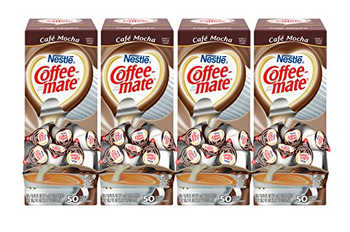 NESTLE COFFEE-MATE Coffee Creamer, Cafe Mocha, liquid creamer singles, 50 Count (Pack of 4)