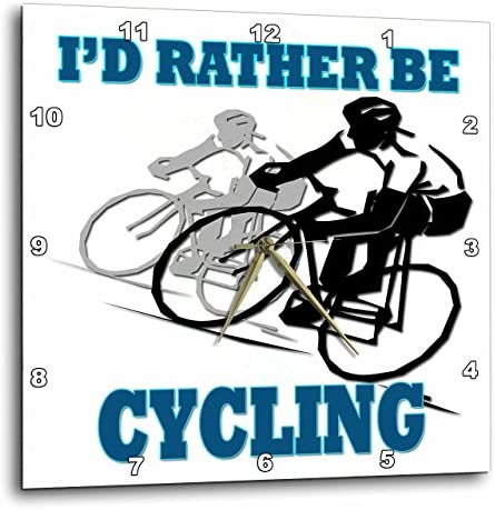 3dRose Id Rather Be Cycling. Funny Quotes. Popular Saying. – Wall Clock, 15 by 15-Inch DPP_218217_3