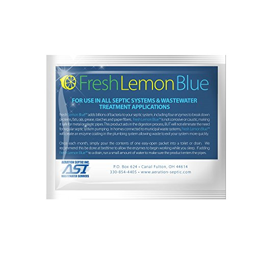 Fresh Lemon Blue Septic Tank Treatment By Aeration Septic Inc. Contains Natural & Safe Enzymes And Bacteria (1 packet)