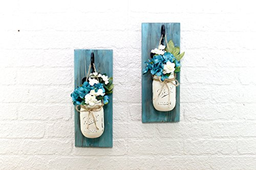 Set of 2 Blue Bayou Wall Sconces Mason Jar Floral Arrangement (Sconce Wall Arrangements Floral)