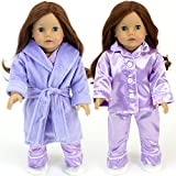 Purple Doll Pajamas & Robe 4pc. Set fits American Girl Dolls - Sophia's 18 Inch Doll Clothing/Clothes Set includes Satin Top/Bottom Purple PJ's, Doll Robe & Slippers