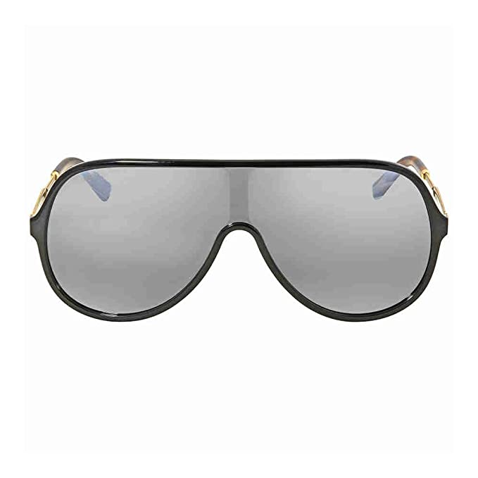 4db298e1b86 Image Unavailable. Gucci GG 0199S 002 Black Plastic Shield Sunglasses  Silver Mirror Lens
