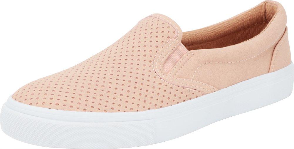Cambridge Select Women's Slip-On Closed Round Toe Perforated Laser Cutout White Sole Flatform Fashion Sneaker B07D4PD2ZT 6 B(M) US|Dusty Mauve Nbpu