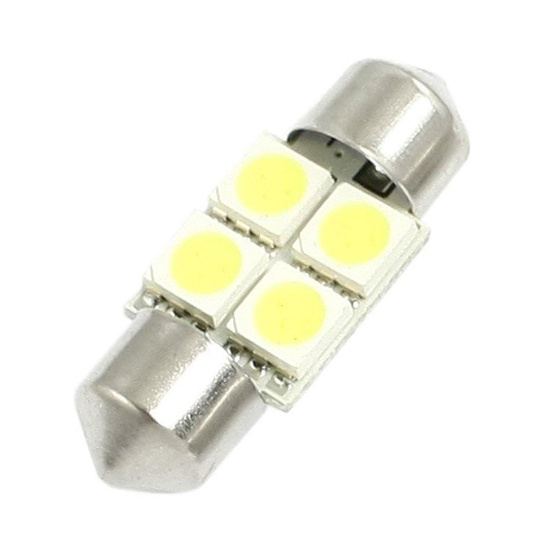 TOOGOO R 2 Piezas de DC 12V 30mm 4 5050 SMD Luz Interior LED de adorno de la boveda del Coche