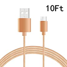 USB Type C-C Cable, NOKEA Braided Micro USB 2.0 Type C (USB-C) to Type C, for New Macbook 12'', Chromebook Pixel, Nexus 5/ 6p, OnePlus 2, Lumia 950/ 950XL, Nokia N1 and more (Gold 10ft)