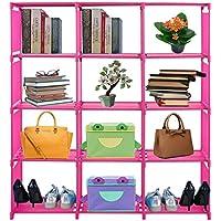 Hindom 3/4 Tier Storage Cube Closet Organizer Shelf 5/12 Cube DIY Cabinet Bookcase (US STOCK) (Pink, 12)