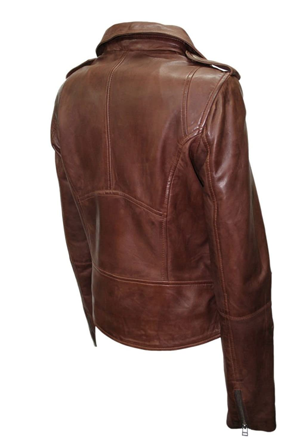 Ladies Brown Casual Retro Brando Soft Nappa Leather Biker Jacket ...