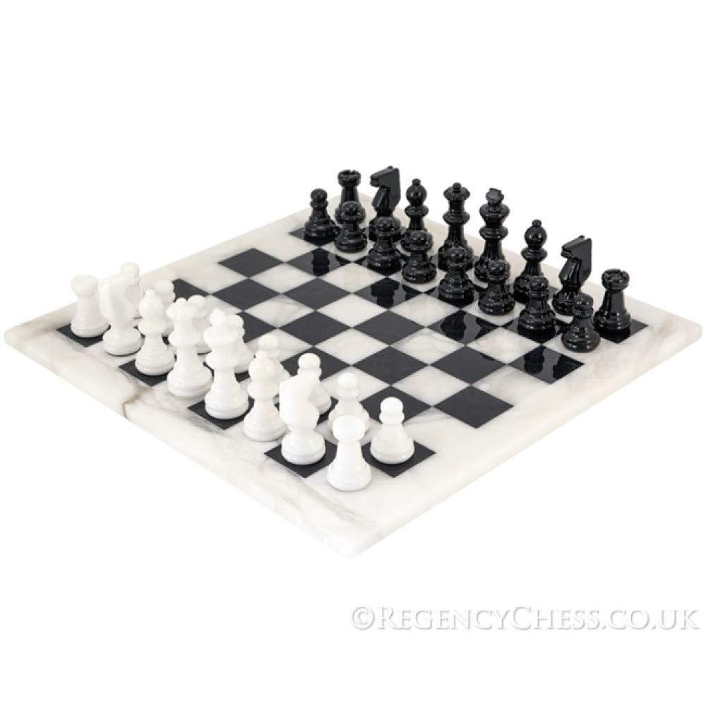 Schwarz und weiß Alabaster Alabaster weiß Schach Set 36.8cm 4b934d