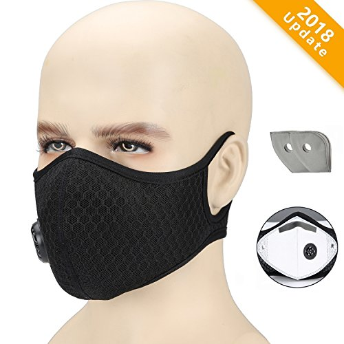 Dust Mask , Otato Activated Carbon Dustproof Mask with Earloop Adjustable Velcro, Extra Filter Cotton Sheet and Valves for Cycling,  Exhaust Gas, Anti Pollen Allergy, PM2.5, Running, Woodworking