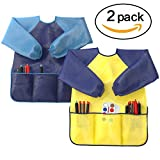 Toys : Kids Art Smocks Pack of 2 - Children Artist Painting Aprons Waterproof and Long Sleeve with 3 Roomy Pockets for Boys and Girls Age 2-6 Years Old